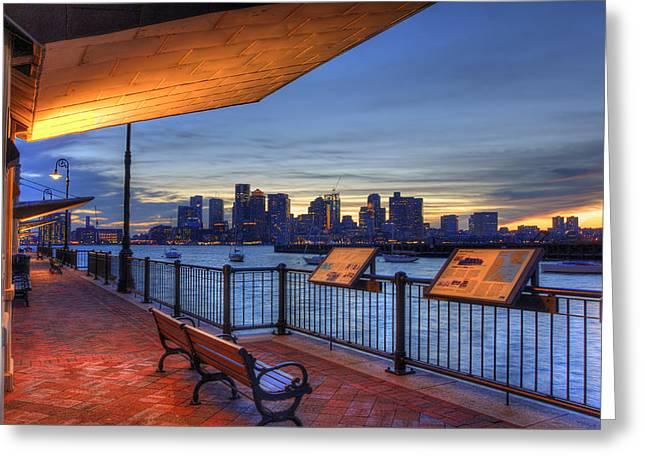 Boston Skyline Sunset - East Boston Greeting Card by Joann Vitali