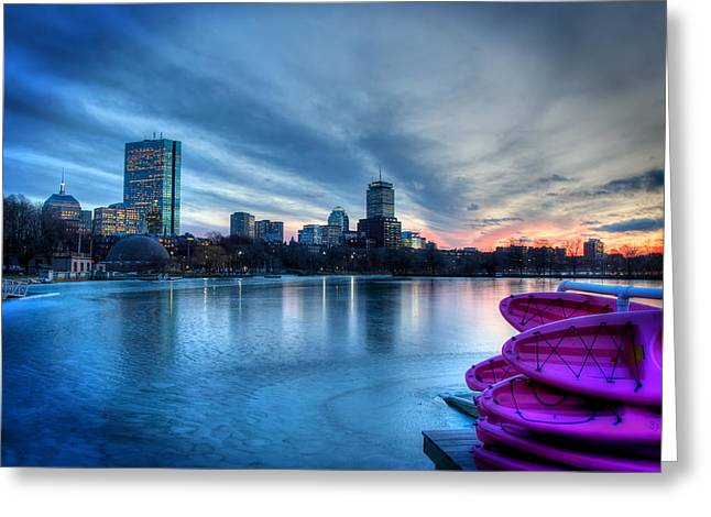 Boston Skyline Sunset On A Frozen Charles River Greeting Card