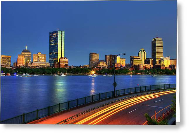 Boston Skyline Sunset Over Back Bay And The Charles River Greeting Card