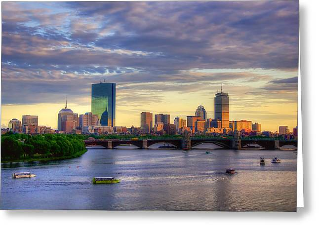 Boston Skyline Sunset Over Back Bay Greeting Card by Joann Vitali