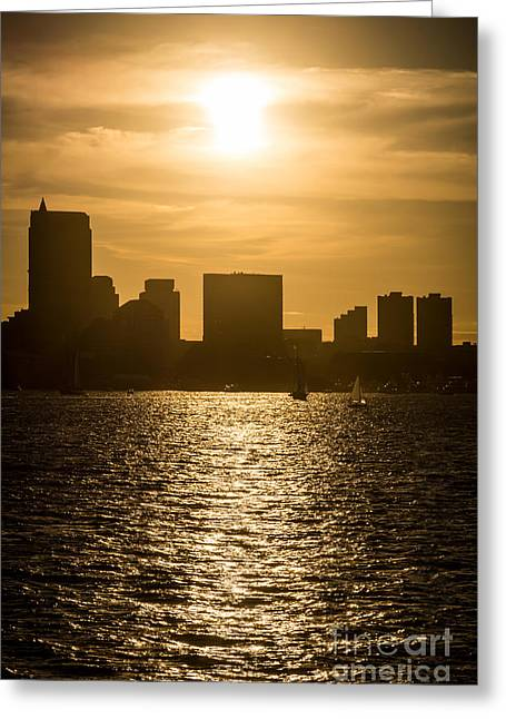Boston Skyline Sunset Picture Greeting Card