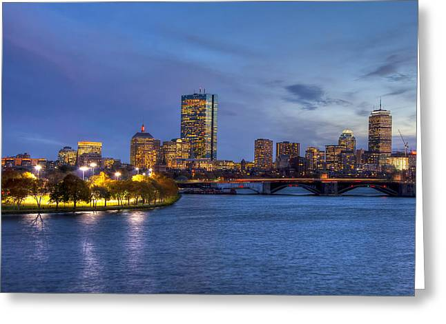 Boston Skyline Twilight Over Back Bay Greeting Card
