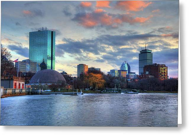 Boston Skyline Winter Sunset Greeting Card