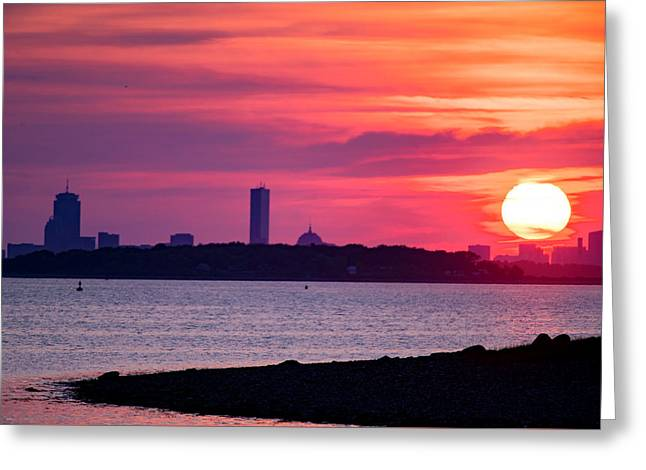 Boston Skyline Worlds End Greeting Card