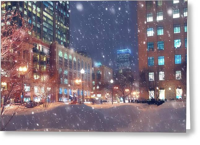 Boston Snowstorm In Back Bay Greeting Card
