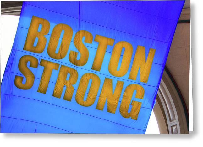 Greeting Card featuring the photograph Boston Strong - Boston Marathon Banner by Joann Vitali