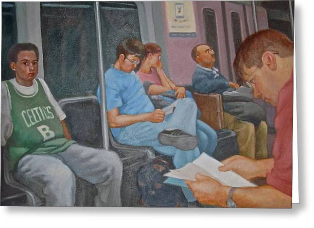 Boston Subway Greeting Card by Janet McGrath
