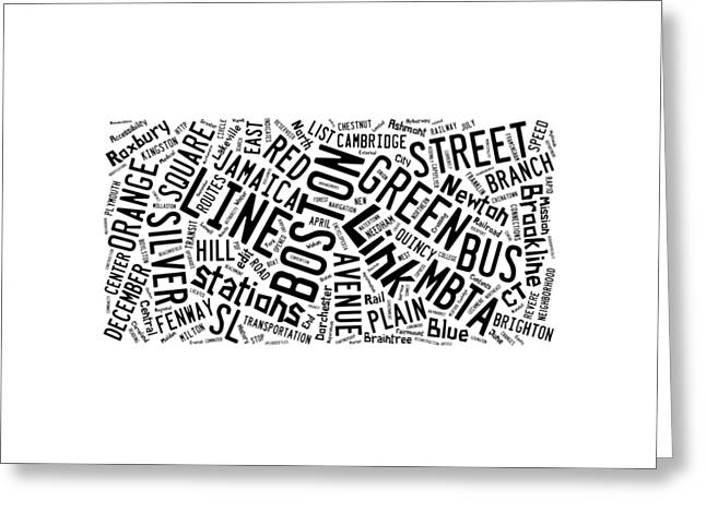 Boston Subway Or T Stops Word Cloud Greeting Card by Edward Fielding