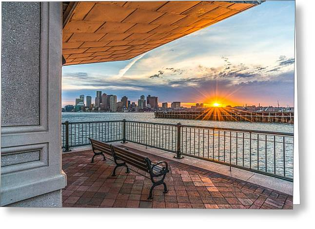 Boston Sunset From Piers Park East Boston Ma Greeting Card