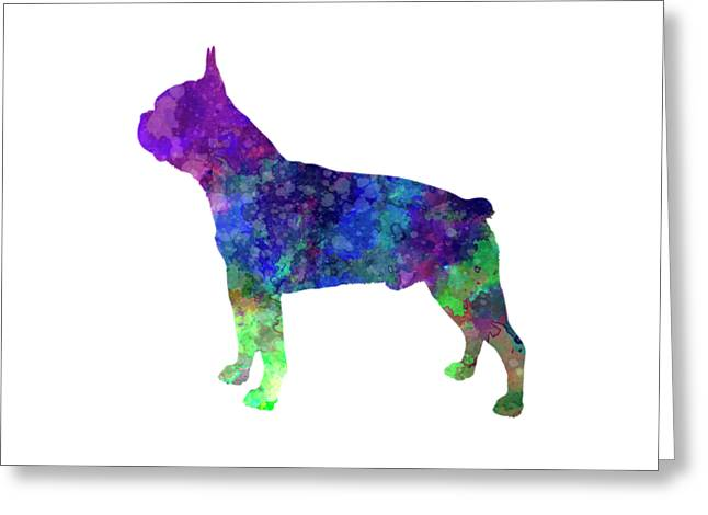 Boston Terrier 02 In Watercolor Greeting Card by Pablo Romero