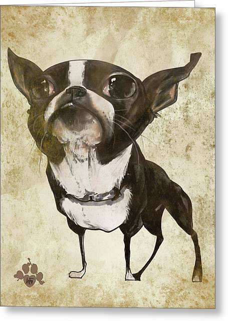 Boston Terrier - Antique Greeting Card