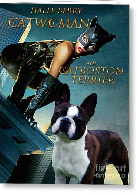 Boston Terrier Art Canvas Print - Catwoman Movie Poster Greeting Card by Sandra Sij