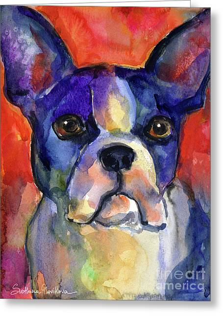 Boston Terrier Dog Painting  Greeting Card by Svetlana Novikova
