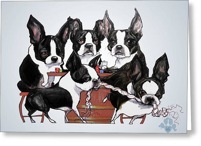 Boston Terrier - Dogs Playing Poker Greeting Card