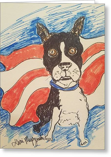 Boston Terrier Greeting Card by Geraldine Myszenski