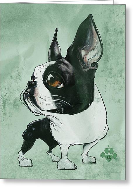 Boston Terrier - Green  Greeting Card
