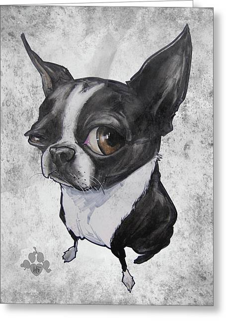 Boston Terrier - Grey Antique Greeting Card