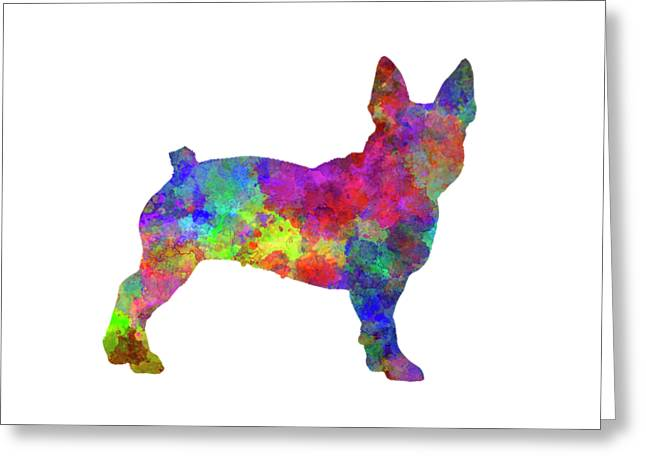 Boston Terrier 01 In Watercolor Greeting Card by Pablo Romero
