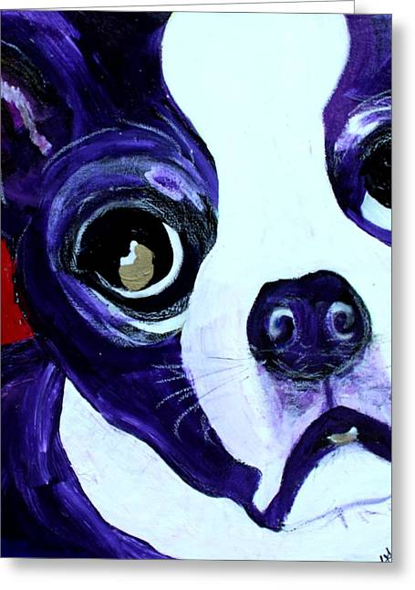 Greeting Card featuring the painting Boston Terrier- Lucy by Laura  Grisham