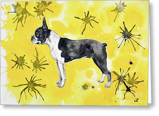 Greeting Card featuring the painting Boston Terrier On Yellow by Zaira Dzhaubaeva