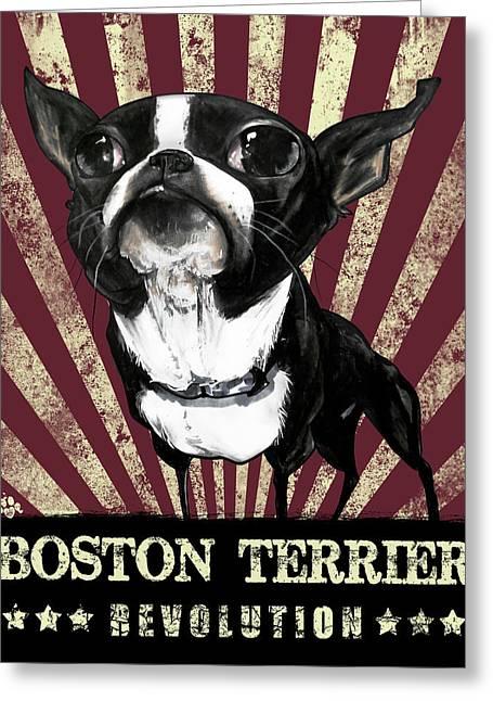 Boston Terrier Revolution Greeting Card