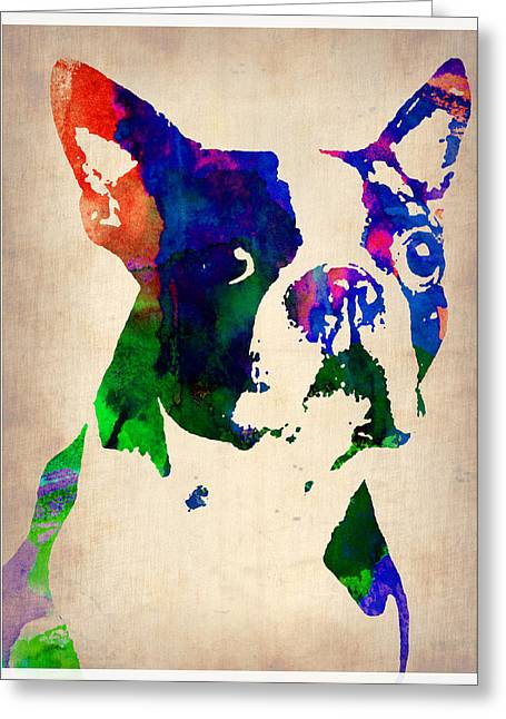 Pet Greeting Cards - Boston Terrier Watercolor Greeting Card by Naxart Studio