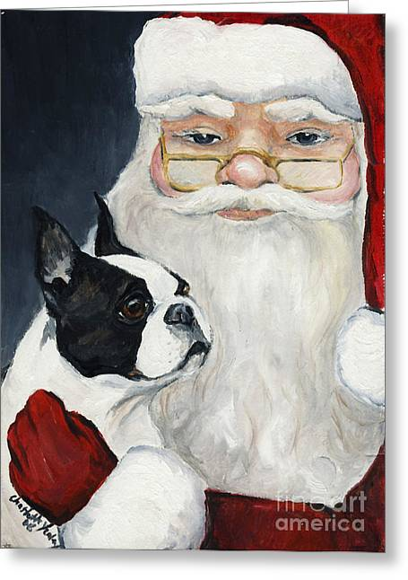 Boston Terrier With Santa Greeting Card