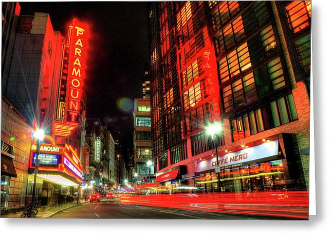 Boston Theatre District At Night Greeting Card