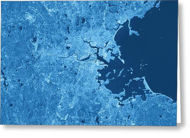 Boston Topographic Map Blue Color Top View Greeting Card