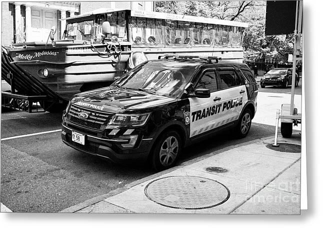 boston transit police ford interceptor suv patrol vehicle Boston USA Greeting Card