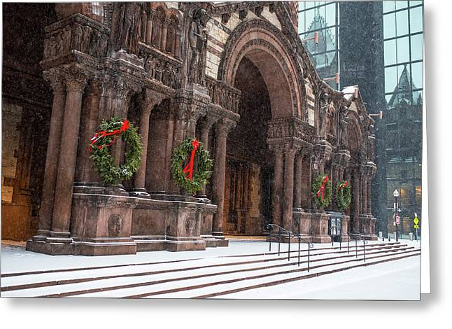 Boston Trinity Church Christmas Wreaths Boston Ma Hancock Reflection Greeting Card by Toby McGuire