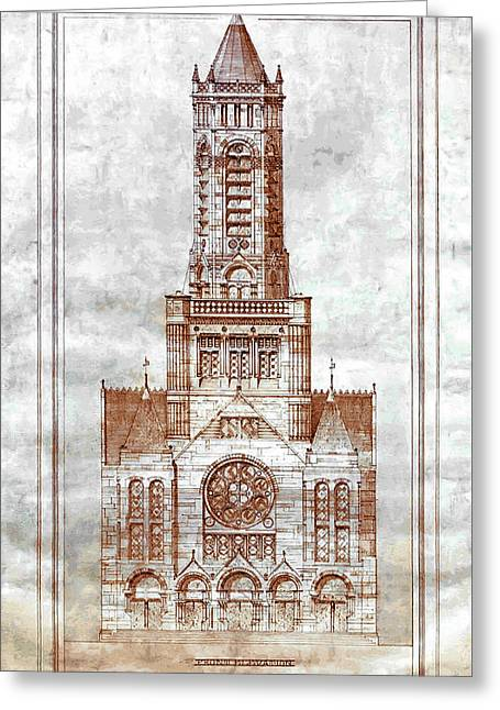 Boston Trinity Church Design 1872 Greeting Card by Daniel Hagerman