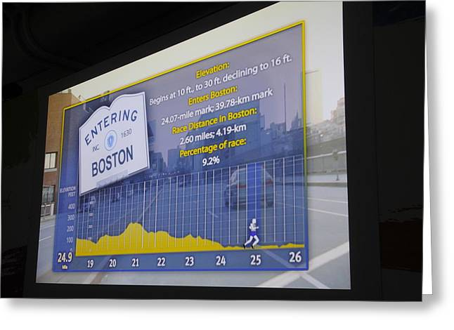 Entering Boston Marathon Course Map Greeting Card by Valerie Collins