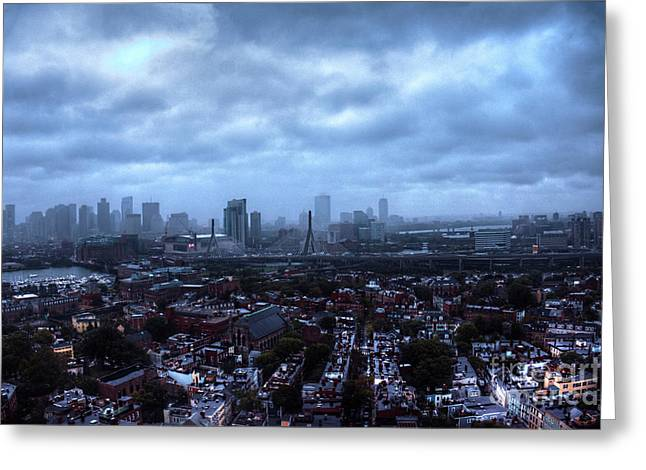 Boston Viewed From Top Of Bunker Hill Monument Greeting Card