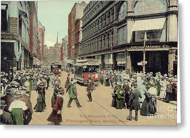 Boston: Washington Street Greeting Card by Granger