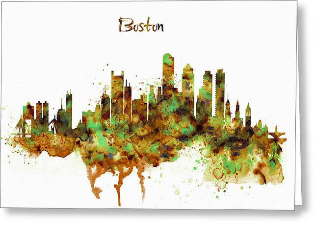 Boston Watercolor Skyline Greeting Card