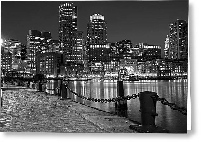 Boston Waterfront Boston Skyline Black And White Greeting Card