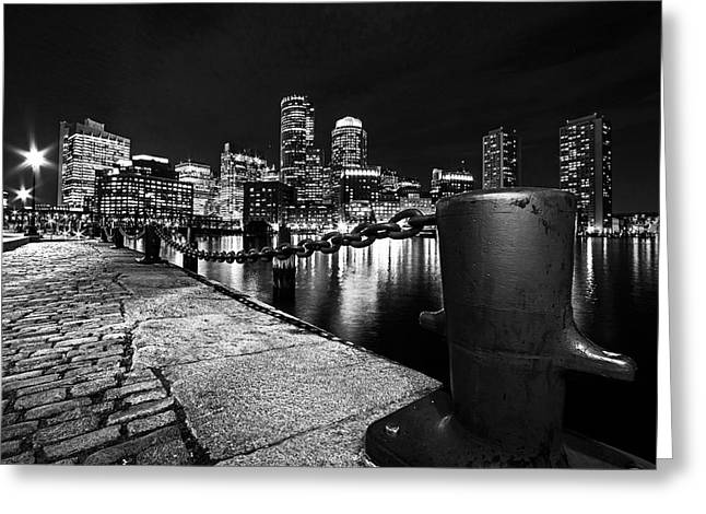 Boston Waterfront Skyline View Boston Ma Black And White Greeting Card by Toby McGuire