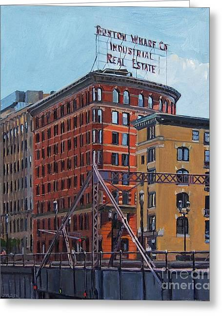 Boston Wharf Co On Summer Street Greeting Card