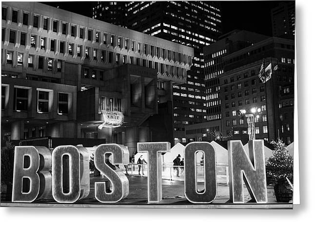 Boston Winter In City Hall Plaza Boston, Ma Black And White Greeting Card by Toby McGuire