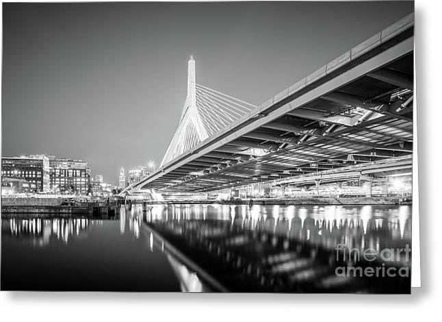 Boston Zakim Bridge At Night Black And White Photo Greeting Card