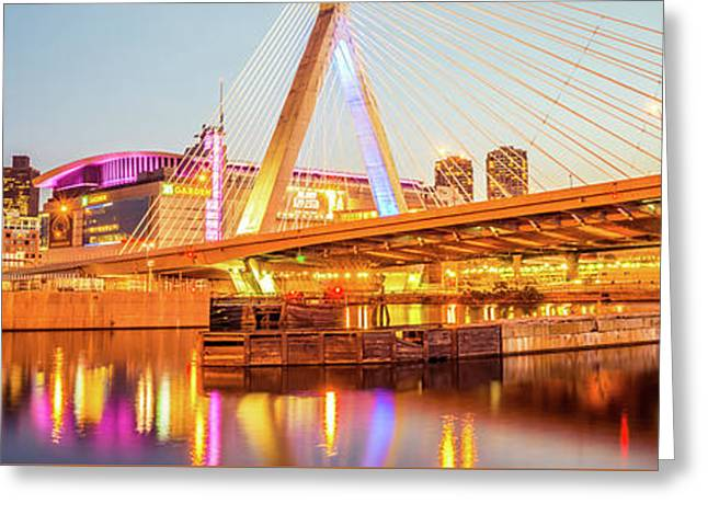 Boston Zakim Bridge At Night Panorama Photo Greeting Card by Paul Velgos