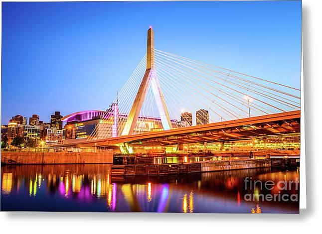 Boston Zakim Bridge At Night Photo Greeting Card