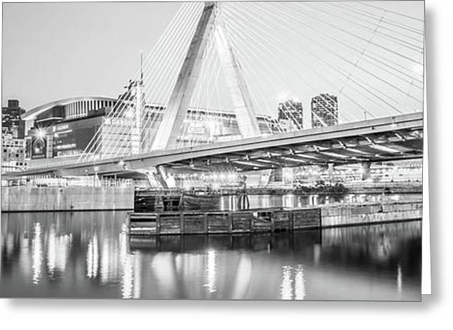 Boston Zakim Bridge Black And White Panorama Photo Greeting Card by Paul Velgos