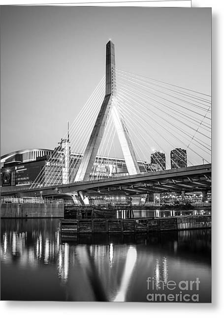 Boston Zakim Bridge Black And White Photo Greeting Card