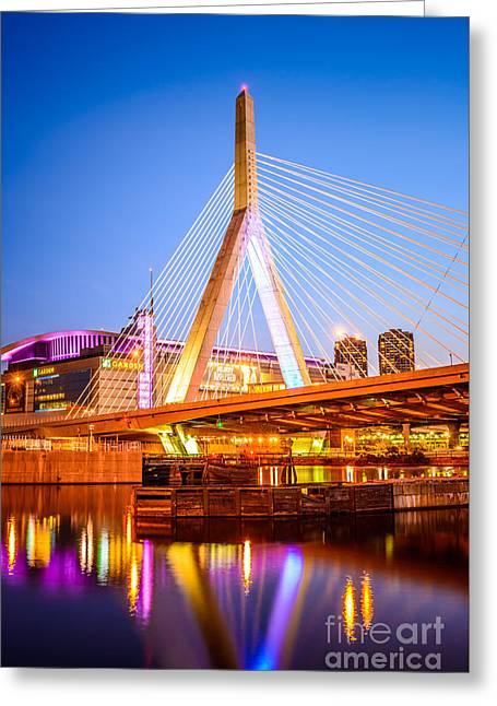 Boston Zakim Bunker Hill Bridge At Night Photo Greeting Card