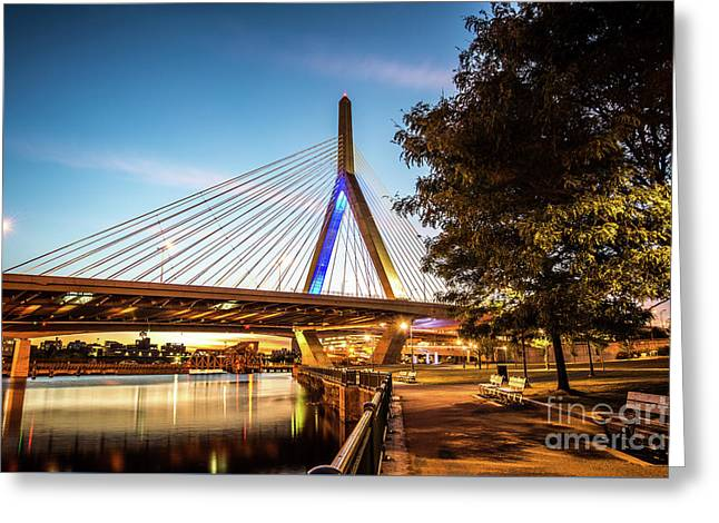 Boston Zakim Bunker Hill Bridge At Night Picture Greeting Card by Paul Velgos