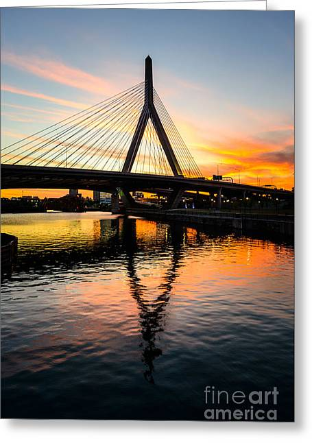Boston Zakim Bunker Hill Bridge At Sunset Greeting Card by Paul Velgos
