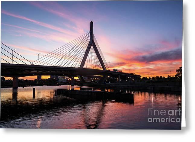 Boston Zakim Bunker Hill Bridge At Sunset Photo Greeting Card