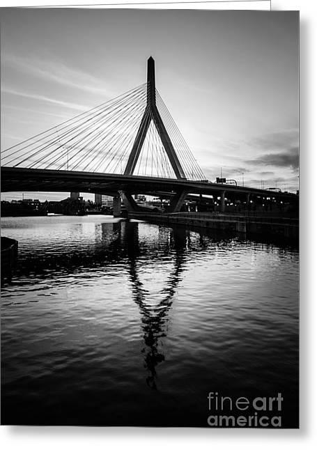 Boston Zakim Bunker Hill Bridge In Black And White Greeting Card by Paul Velgos